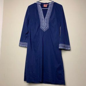 Tory Burch Embroidered Navy Dress